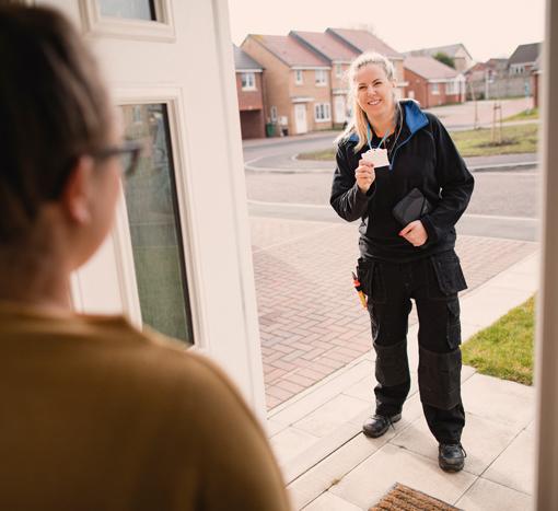 Woman greeted at door